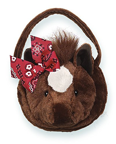 Bearington Trotter Carrysome, Girls Plush Brown and White Horse Stuffed Animal Purse, Handbag 7 inches (White Farm Horse)