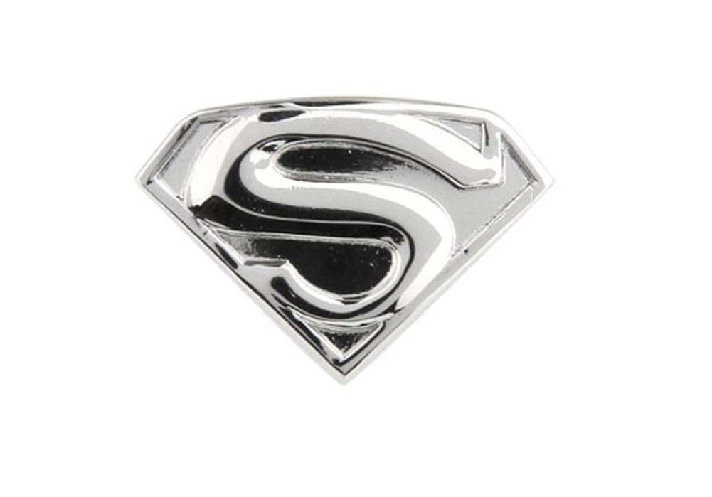 Williams and Clark Silver Superman Shield Super Hero Man Lapel Pin Tie Tack Show Off Your Hero
