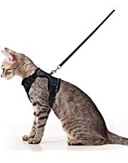 Cat Harness and Leash Set for Walking, Escape Proof with 59 Inches Leash - Adjustable Soft Vest Harnesses for Large Cats, Big Cat Leash Harness with Reflective Strips & 1 Metal Leash Ring, Black, S