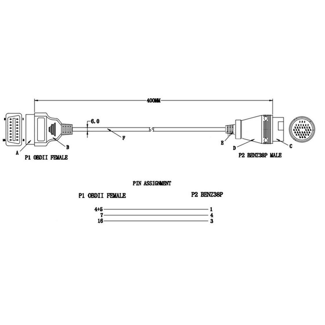 Gwendoll C/âble de connecteur de Diagnostic de Voiture 38Pin pour Benz 38 Broches m/âle /à 16 Broches Femelle OBD2 OBDII connecteur Adaptateur de Diagnostic Outil