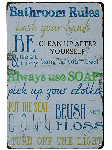 SKYC Laundry Rules Typography Vintage Distressed Metal Tin Signs Rustic Laundry Room Bathroom Wall Plaque 8X12Inch