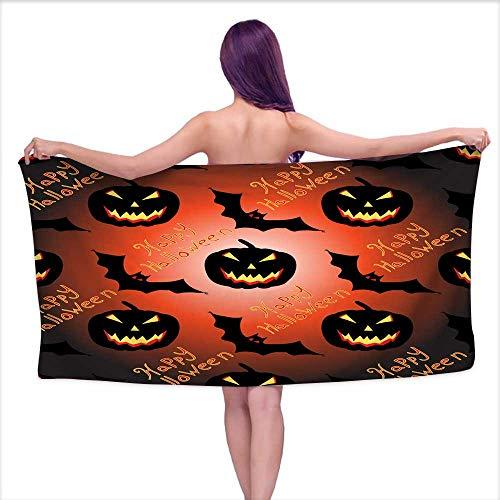 Tankcsard Bath Towels Halloween Seamless Vector Pattern Background Wallpaper,W10 xL39 for Men red