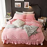 LIFEREVO Luxury Velvet Mink 4 Pieces Bedding Set (1 Duvet Cover + 2 Pillowcases + 1 Ruffled Flat Sheet)Pompoms Decorative (King Pink)