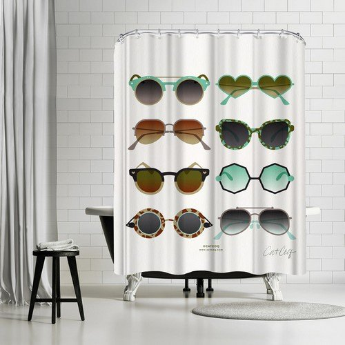 Americanflat Sunglasses Mint and Sepia Shower Curtain by Cat Coquillette, 74
