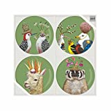 Paperproducts Design 603149 7'' Plate Set of 4 with Frolicking Friends Design Four Set, Multicolor