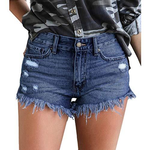 Olyha Women's Distressed Jean Shorts Ripped Frayed Raw Hem Denim Shorts(Blue M)
