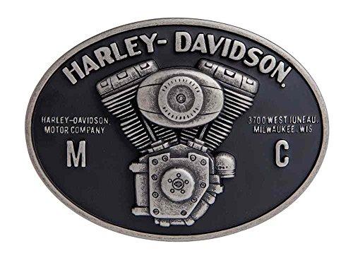 [Harley-Davidson Men's Hot Rod V-Twin Belt Buckle, Antique Nickle HDMBU11094] (Harley Belt Buckles)