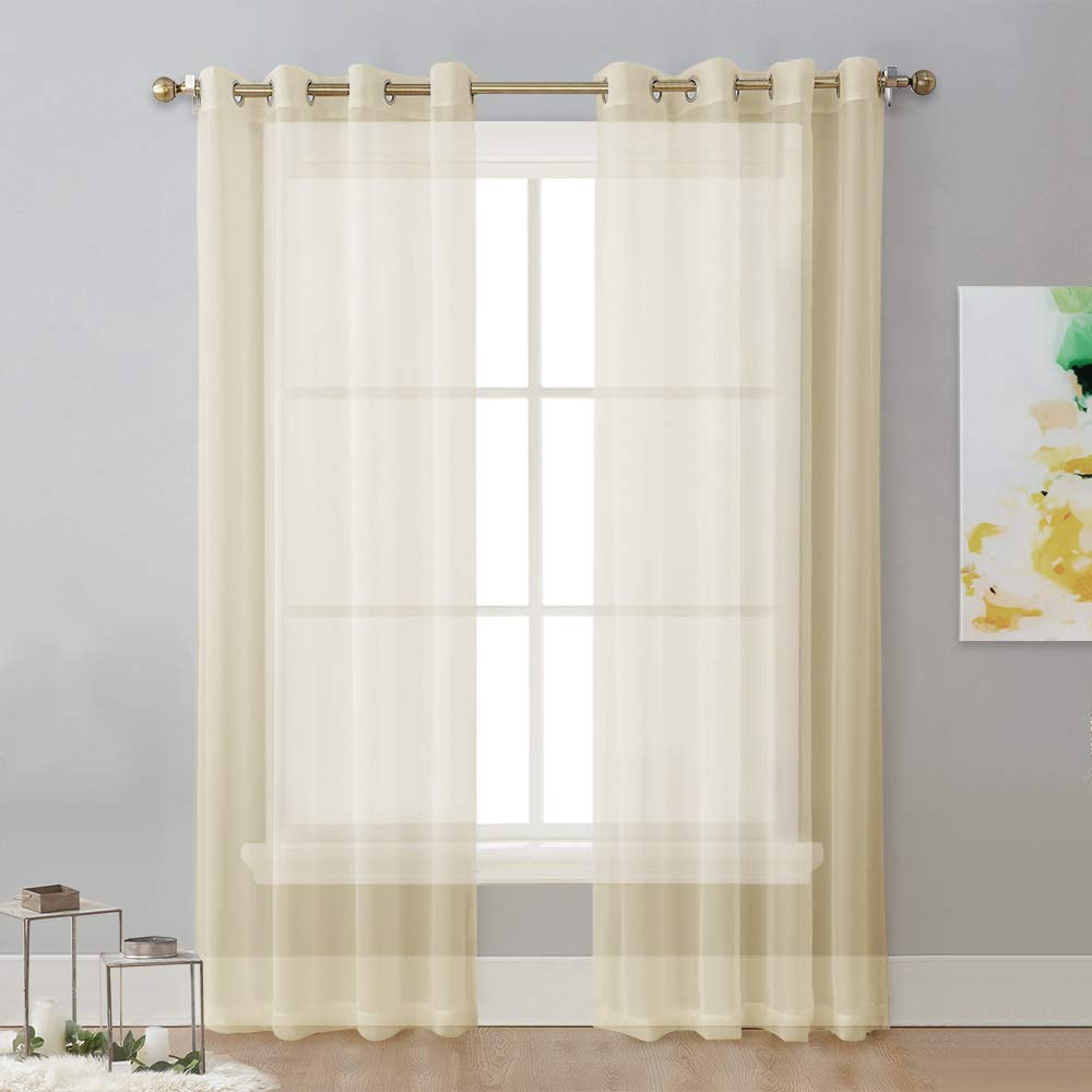Drapes with Grommet Top 2-Pack, 54 Wide x 96 inch Long, White Solid White Panels NICETOWN Sheer Window Curtain Panels