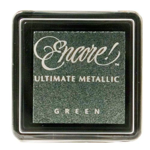 Tsukineko Small Size Encore Ultimate Metallic Pigment Inkpad, Green