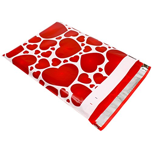 Poly Mailers Hearts Designer Mailers Red Boutique Shipping Bags #SmileMail (100 10x13)