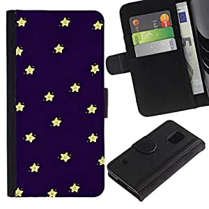 UberTech / Samsung Galaxy S5 V SM-G900 / Night Sleep Baby Stars Sky Navy Blue Yellow / Cuero PU Delgado caso Billetera cubierta Shell Armor Funda Case Cover Wallet Credit Card
