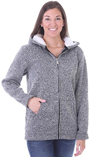 Woodland Supply Co. Women's Fleece Lined Zip Up Sherpa Hoodie Jacket (Small, Charcoal)