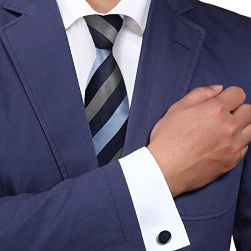 A1010 Midnight Blue Gray Stripes Series Presents Light Blue Mens Silk Tie Cufflinks Set 2PT By (Blue Gray Stripe Silk Necktie)