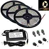 AQURE Pack of 3 Waterproof 5M 12V 300 LED 3528 SMD Flexible LED Light Lamp Strip with 6A Power Adapter (Warm White)