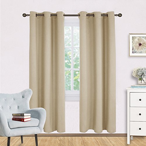 Thermal Room Darkening Draperies Curtains - NICETOWN Thermal Insulated Grommet Room Darkening Drape Panels for Bedroom (2 Panels, W42 x L72 -Inch,Warm Beige)