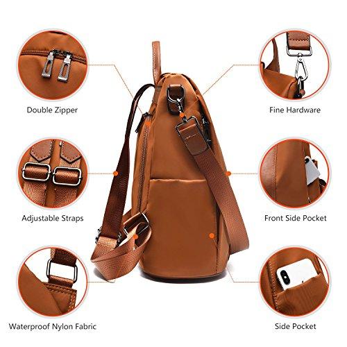 Ladies Shoulder Dayback Nylon bags Brown theft School Women Backpack Waterproof Bags Rucksack Anti Barwell AET6P