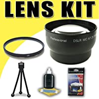 DavisMAX 2X Telephoto and UV Lens Accessory Bundle for Canon 58mm Camcorders