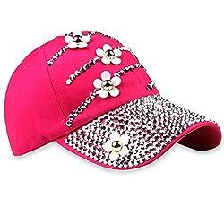 1-Flowerrose Studded Rhinestone Crystals Adjustable Baseball Cap
