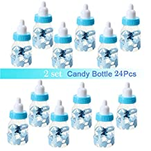 Candy Bottle Gift Box Baby Shower Baptism Christening Birthday Wedding Party Sweets Favors Decoration 12pcs (24pcs-Blue)