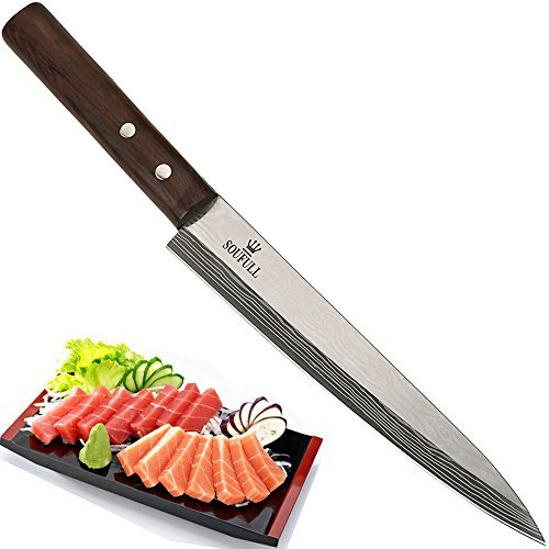 Japanese Yanagiba Sashimi Sushi Knife, Soufull 325mm Stainless Steel Professional Sashimi Knife with Razor Sharp Blade