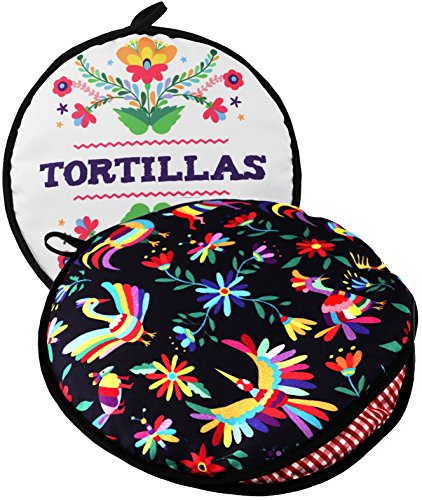 "TWO SIDED! Tortilla Warmer, Size 11"" Insulated and Microwaveable, Fabric Pouch Keeps Them Warm for up to One Hour! Perfect Holder for Corn & Flour For All Occasions! By ENdeas by ENdeas"