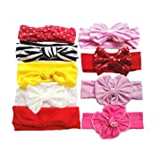 Toptim Baby Headbands Turban Knotted, Girl's Hairbands for Newborn,Toddler and Childrens (9 Counts)
