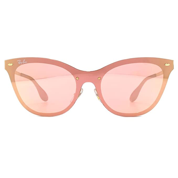 b1420f8336 Ray-Ban Blaze Cats Sunglasses in Gold Pink Mirror RB3580N 043 E4 43   Amazon.co.uk  Clothing