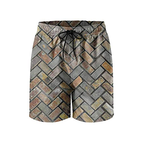 (PPANFKEI Brown & Grey Herringbone Bricks Mens Swim Trunks Durable Watershorts with Liner)
