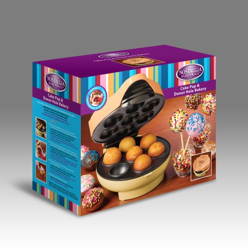 Nostalgia JFD100 Cake Pop & Donut Hole Bakery with 25 Bamboo Sticks