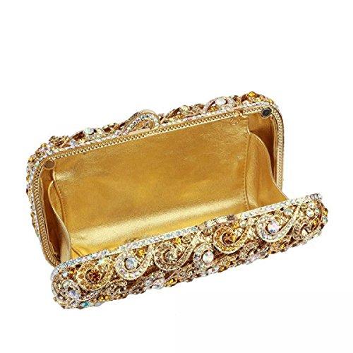 De Diamantes Bolso De Noche Oro Lujo Lujo Bolso De Las Mujeres Yellow