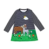 Baby Girls Dresses for 0-6 Years Old,  Xinantime Toddler Spring Horse Stripe Print Princess Dress Party Dress Clothes (2Y, Navy1)