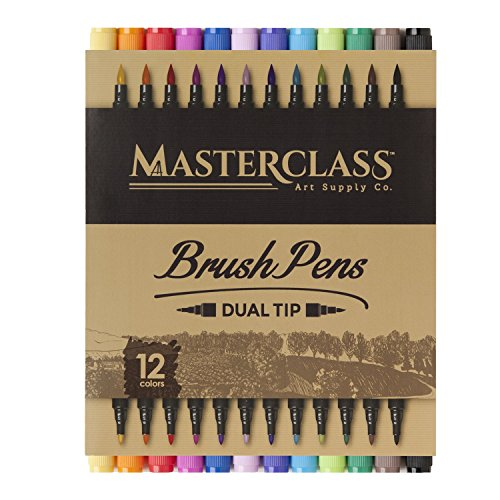 Masterclass Premium Dual Tip Brush Markers, 12 Color, Non-Toxic Water Based Double Tip Pens by Masterclass Art Supply Co.