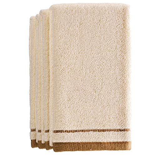 (Creative Scents Cotton Fingertip Towels Set - 4 Pack - 11 x 18 Inches Decorative Extra-Absorbent and Soft Terry Towel for Bathroom - Powder Room, Guest and Housewarming Gift (Cream and Brown))