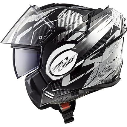 LS2 Casco de Moto Valiant Roboto, Negro/Blanco/Cromo, tamaño XS