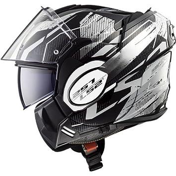 Amazonfr Ls2 Casque Moto Valiant Roboto Noir Blanc Chrome M