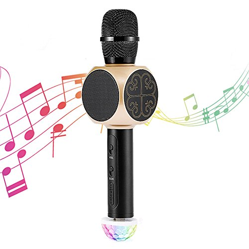 Bluetooth Wireless Karaoke Microphone with USB Disco Ball Light and Phone Holder, Archeer 3-in-1 Portable Home Party KTV Handheld Microphone Singing Machine with Speaker Compatible iPhone Android iPad by Archeer