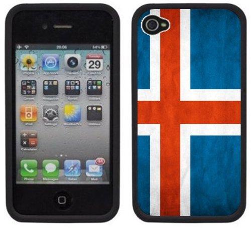 Drapeau Islande | Fait à la main | iPhone 4 4s | Etui Housse noir