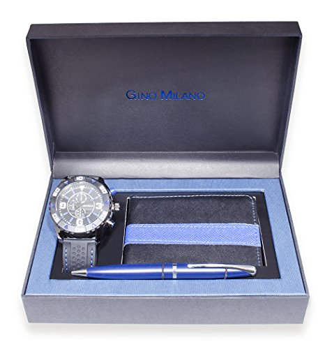 (Men's Matching Watch, Wallet & Pen Gift Set (Blue))
