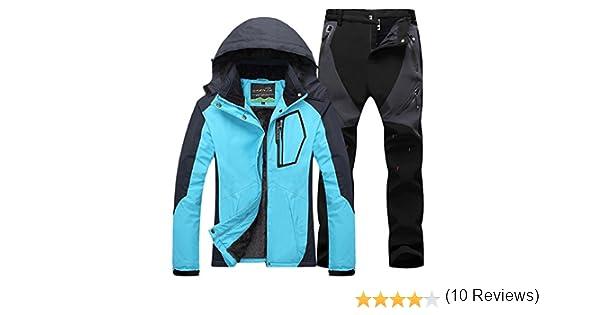 Qitun Mujer de Trekking Impermeable Deportivos Transpirable Pantalones Chaqueta de Esquí Impermeable Chaqueta de Nieve Excursionismo Conjunto