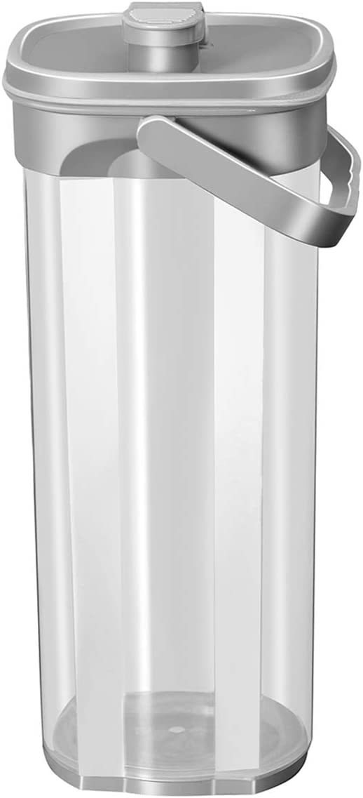 Otartu Water Pitcher with Airtight Lid, 2 Quart, Leakproof Ice Tea Maker, Plastic Carafe for Beverages, Coffee, Juice, Storage Jar Container. (Grey Color)