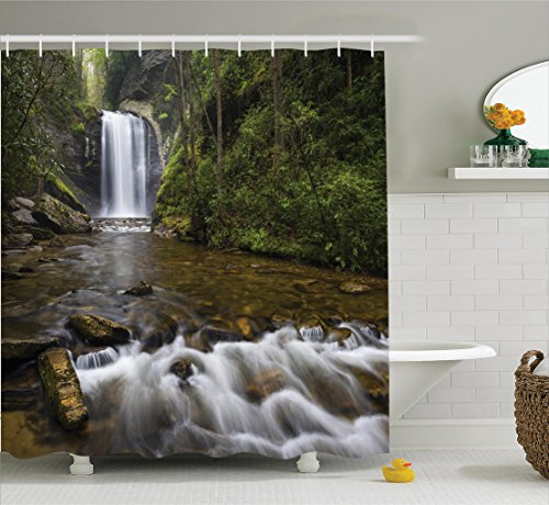 Ambesonne Natural Waterfall Decor Collection, Waterfalls in the Mountain in North Western Lands Calming River Scene, Polyester Fabric Bathroom Shower Curtain, 75 Inches Long, Green Brown White