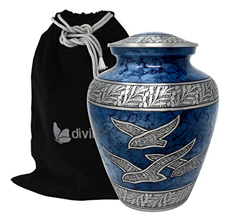 Divinityurns Wings of Hope Cremation Urn – Large Wings of Freedom Urn – Returning Home Adult Urn – Handcrafted Affordable Urn for Human Ashes with Velvet Bag Blue