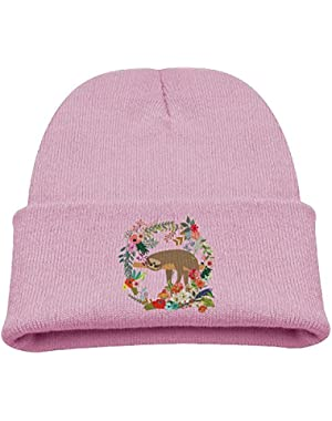 Cute Sloth Vintage Flower Kid's Hats Winter Funny Soft Knit Beanie Cap, Unisex