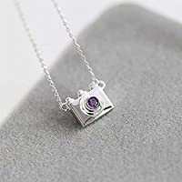 Meenanoom Chain Water Inlay Womens Dazzling Plated Necklaces Crystal Camera Pendants