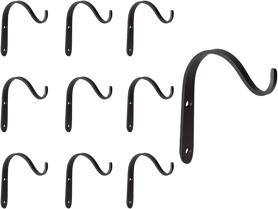 10 Pack Iron Wall Hooks, Metal Hanging Plants Bracket Decorative Curved Hooks, Heavy Duty Hook Hangers for Flower Pot, Bird Feeder, Lanterns, Wind Spinners, Decorative Plants, Screws Included (Black)