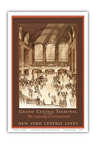 Pacifica Island Art Grand Central Terminal, New York - The Gateway to a Continent - New York Central Lines - Vintage Railroad Travel Poster by Earl Horter c.1920s - Master Art Print - 12in x 18in