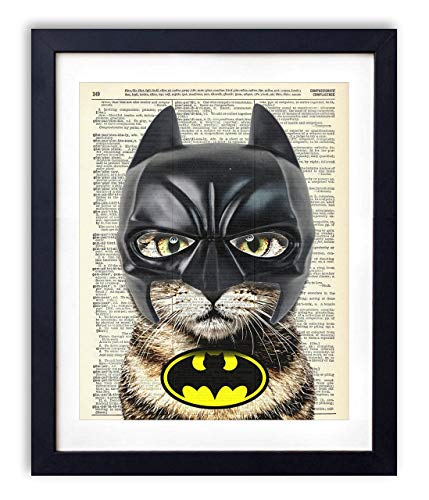 Bat Cat Super Hero Vintage Upcycled Dictionary Art Print - 8x10 inches -