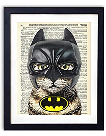 cebf5dd9562 Bat Cat Super Hero Vintage Upcycled Dictionary Art Print - 8x10 inches