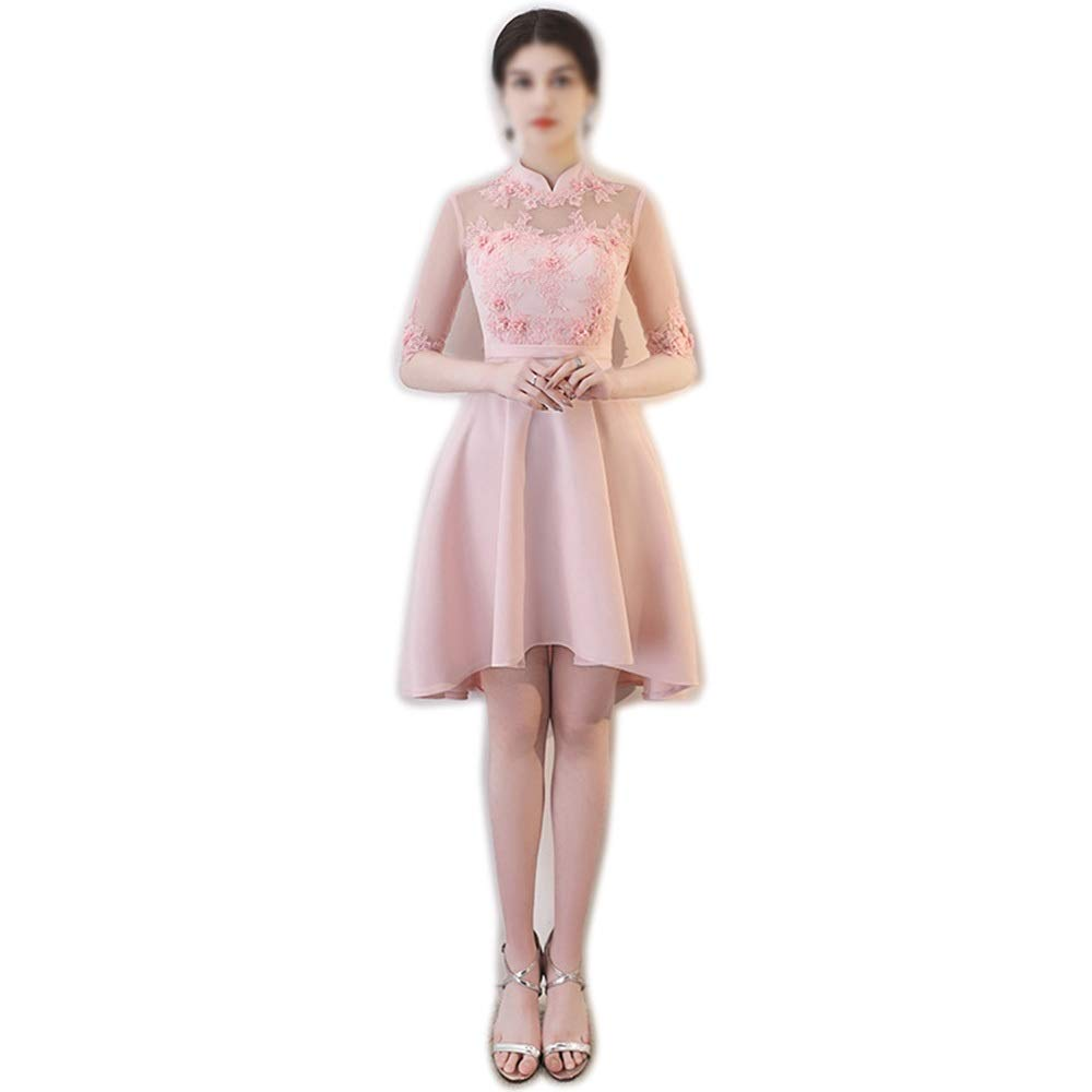 Pink MISSKERVINFENDRIYUN Womens Elegant Embroidery Lace Party Wedding Bridesmaid Dress