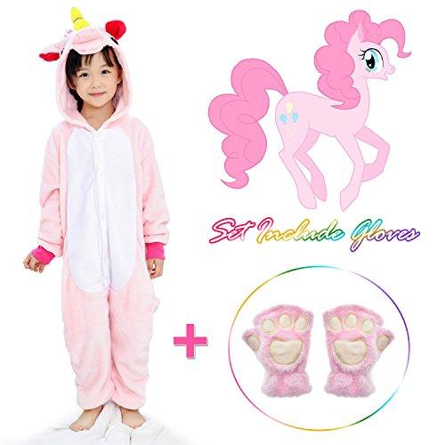 Unicorn Onesie for kids Animals Sleepwear Pajamas Pjs Costume with Gloves (Pink 6)